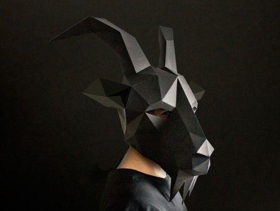 Make your own Black Phillip - Goat Mask, Instant Pdf download, DIY Animal Head, Printable Mask,  DIY Polygon Masks