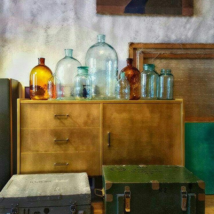Medium vintage flagon green demi John  antique wine bottle home decor