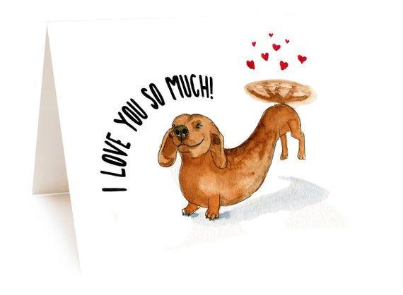 Blank inside LOVE Tiny Dachshund Bouquet  Card