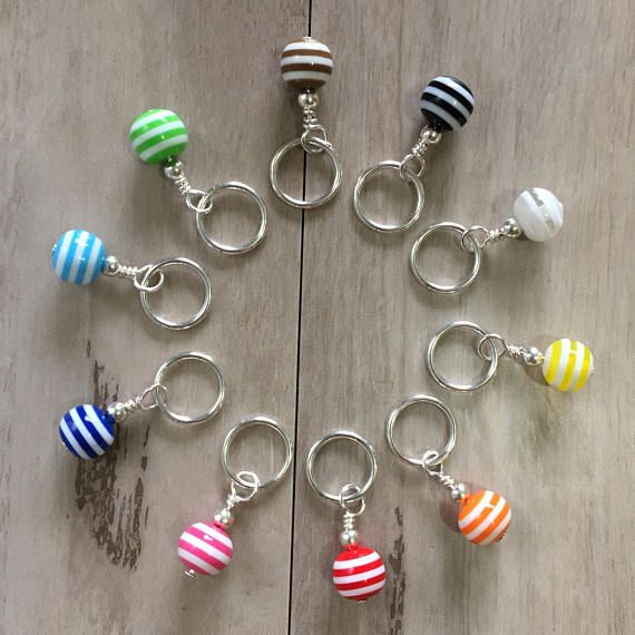 Handmade Stitch Markers for Knitting  Rainbow Beads Set of 10