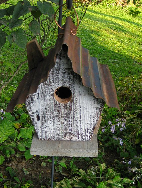 Tin Roof Barn Wood Birdhouse By Floralsculptures On Etsy