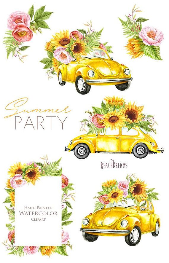 Watercolor Yellow VW Beetle, summer clipart, sunflowers, peonies, roses, retro car, volkswagen, floral wedding Invitations, instant download