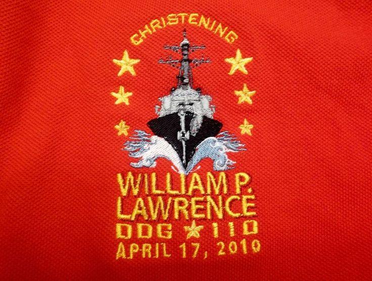 Christening William P. Lawrence DDG 110 Adult XL X-Large Golf Shirt U.S. Navy