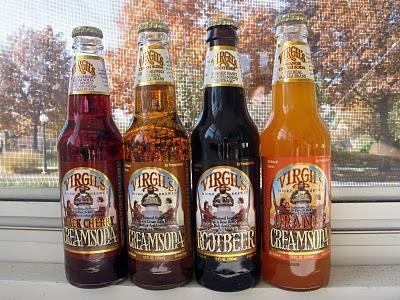 Virgil's Black Cherry, Cream Soda, Root Beer and Orange Cream Soda Bottles.
