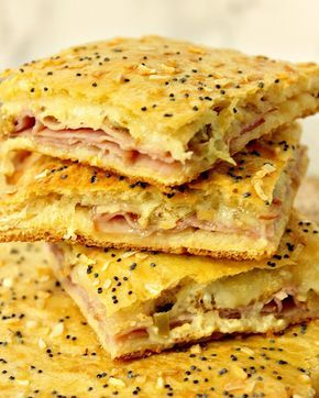 These Crunchy Crescent Ham & Havarti Appetizer Squares will win rave reviews at any big game party. And with the use of everyone's favorite store-bought crescent roll dough sheets, they couldn't be easier to make.   Kudos Kitchen by Renee