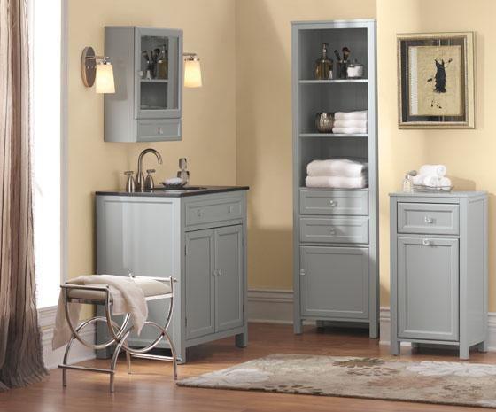 Pretty Gray And Cream Bathroom