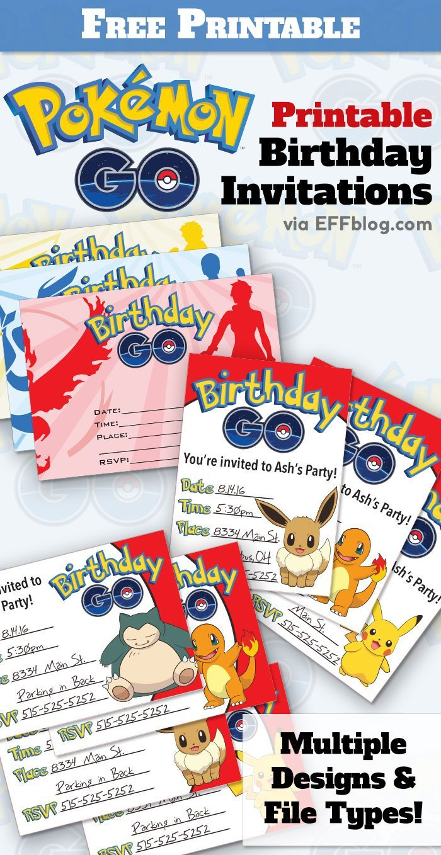 Pok 233 Mon Go Birthday Go Free Printable Invitations