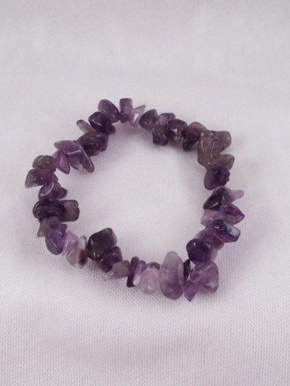 Aenor Amethyst Gemstone Chip Stretch Bracelet by HandmadeByVscot