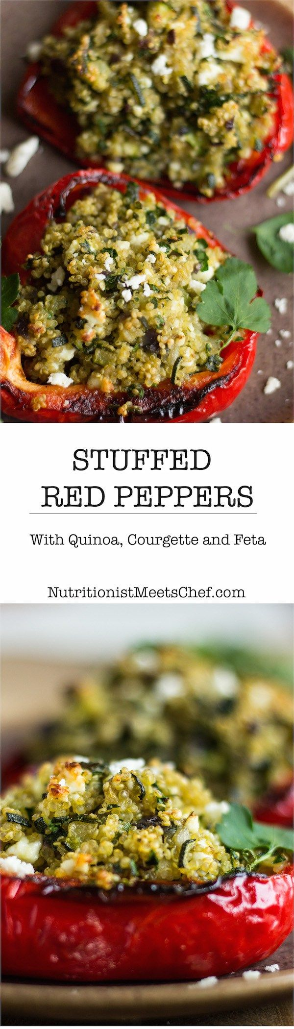 Stuffed Red Peppers with Quinoa, Courgette and Feta cheese, sprinkled with parsley and mint.