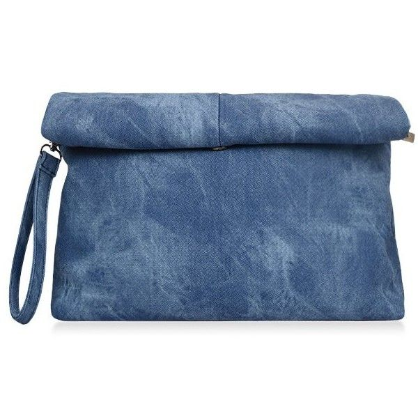 Solid Color Hemming Denim Clutch Bag ($99) ❤ liked on Polyvore featuring bags, handbags, clutches, zaful, denim purse, blue clutches, blue handbags, blue purse and denim handbags