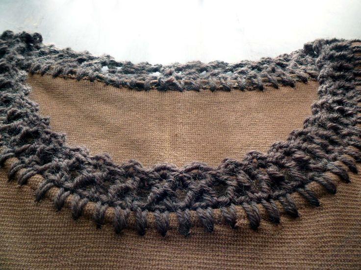 omⒶ KOPPA: virkatut REUNAT - Brown dress edging: the neck