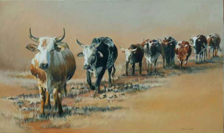"""""""Leading the Herd"""". 1500 x 900 mm. Oil on Canvas. Made as a Commission. SOLD. To order a Commssion, contact me at ewade@absamail.co.za"""