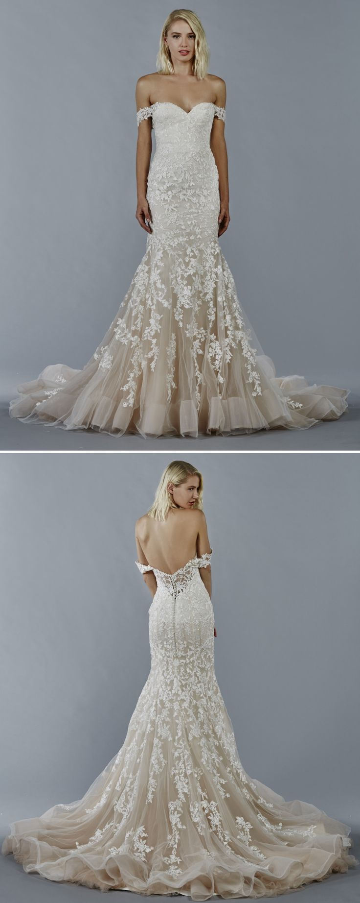 Luna wedding dress by Kelly Faetanini in Blush // Ombre blush fit to flare with off the shoulder neckline and embroidered appliques #weddingdress