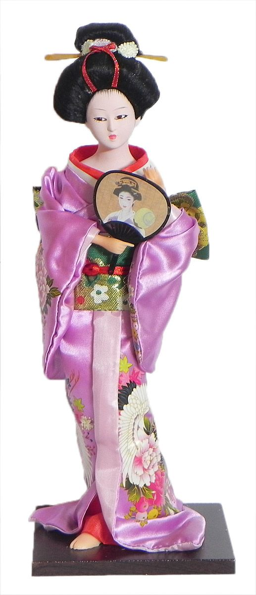 Japanese Geisha Doll in Printed Mauve Kimono Dress Holding Fan (Cloth, Clay, Plastic and Thermocol)