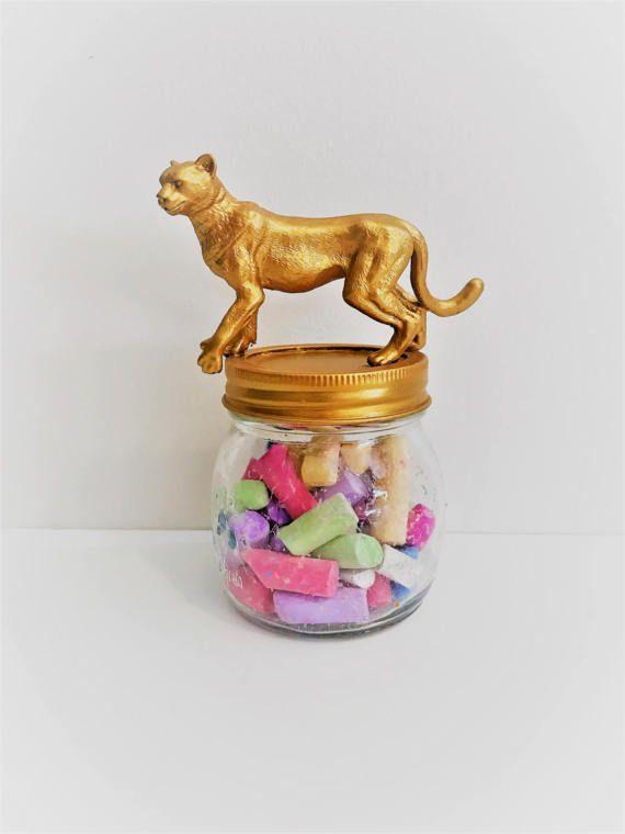 Gold Cheetah Mason Jar Topper // Home Storage Décor // Mason Jar Storage // African Animal // Animal Jar Lid Decoration // Animal Mason Jars