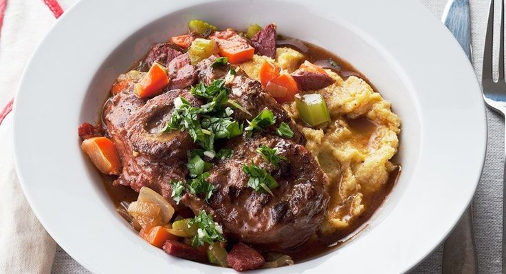 Osso busco. (I know this is veal, but I'm figuring this is also like a stew, so I'm pinning to my soup board since I don't have a veal board.)