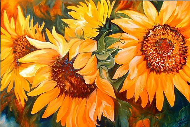 paintings of sunflowers - Google Search