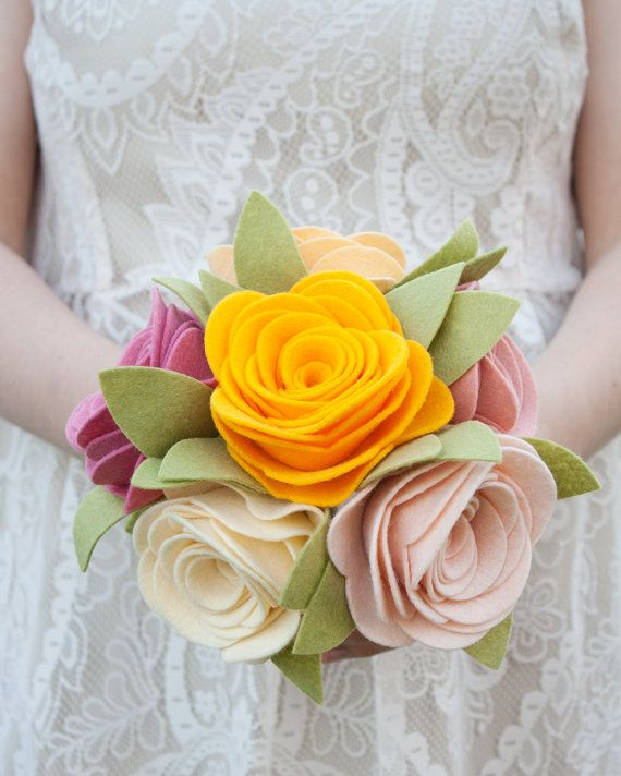 "Vintage look Felt Bouquet - Wedding Bouquet - Alternative Bouquet - ""Cottage Roses"" on Etsy"
