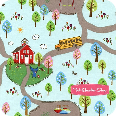 Very cute!    First School Day Blue Back to School Scenic Yardage SKU# C9063-BLUE - Fat Quarter Shop