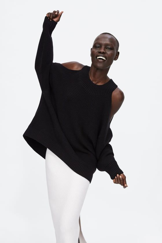 7e350688 Image 5 of COLD SHOULDER RIBBED SWEATER from Zara   Let's go ...
