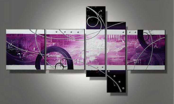 5 quadri moderni astratti toni del rosa
