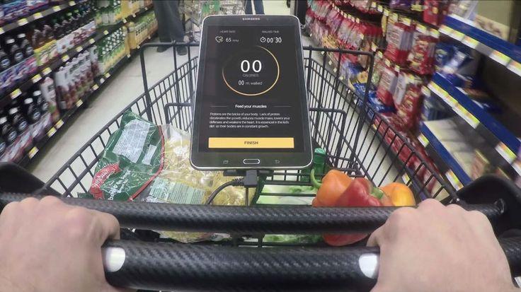 ウォルマートがコスタリカで実施した施策。ショッピングカートにエクササイズ向けセンサーを設置。買い物が健康のための運動になることをアピールした。付近にある健康にいい食べ物を知らせ、購買促進も