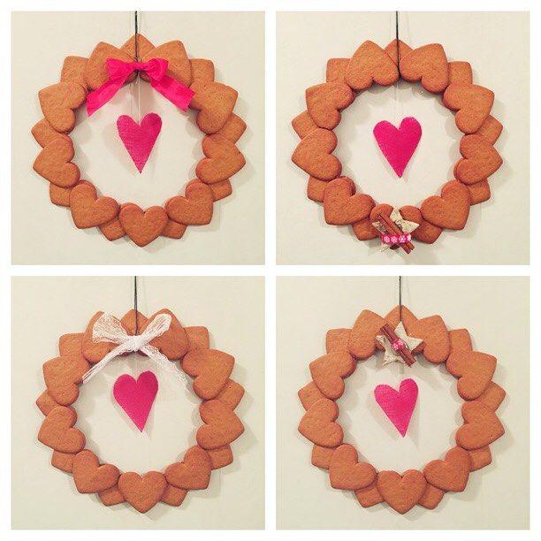 Ett enkelt julpyssel som luktar gottPepparkakskransar Klippt ut en ring i kartong och sen limmat på ❤️:an i två lager, sen lite piff. Kanske tar och pudrar på lite florsocker på nån av dom #pepparkakor #gingerbread #krans #hjärta #heart #rosett #bow #christmas #jul #julpyssel #diy #pyssel #craft #merrychristmas #godjul #christmascrafts #picoftheday #photooftheday #sweden #selfmade