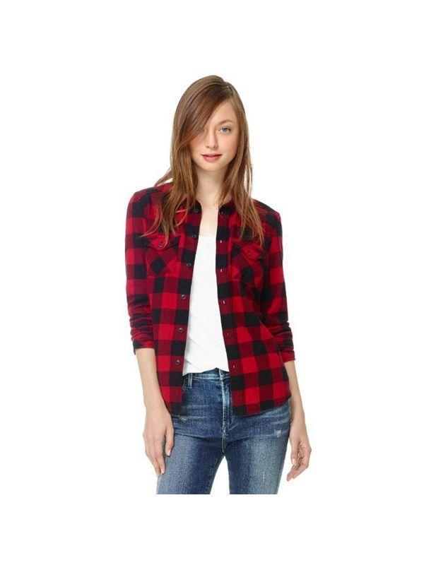 Women Black Red Plaid Checkered Pockets Shirt Blouse 8217 S Blouses