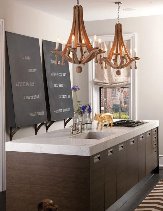 Wooden chandeliers in a modern kitchen