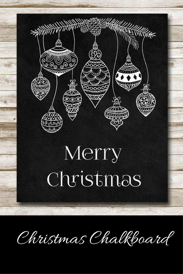 Merry Christmas Chalkboard Style Art, instant download #ad #christmasdecor #chalkboard #printable