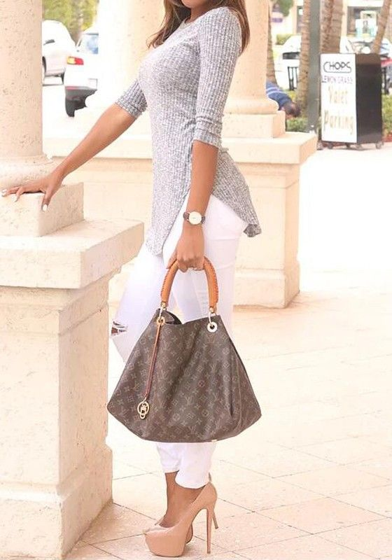 Grey Plain Irregular Round Neck Streetwear Cotton T-Shirt