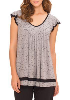 Ellen Tracy Women's Plus Size Flutter Sleeve Top - Gray - 2X