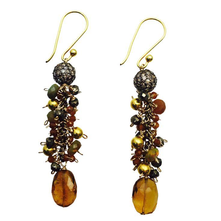 Diamond Beads, Garnets, Pyrite, Opal and 18K Gold Earrings!