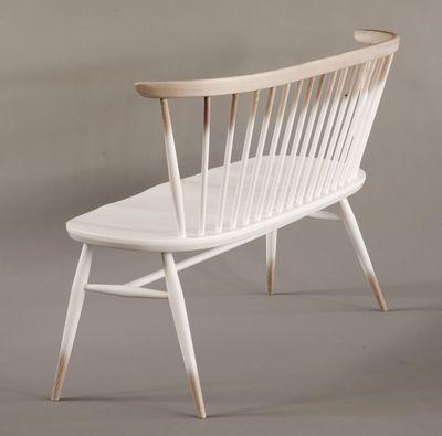 Banc avec dossier Love Seat / L 117 cm - Réédition 1955 Dégradé blanc / Bois - Ercol
