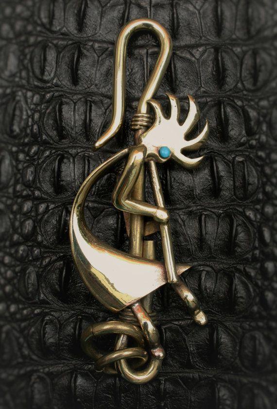 Brass Hook Key Chain /Key Holder  Native Indian - Kokopelli  by Mygoth on Easy (GBK0013)