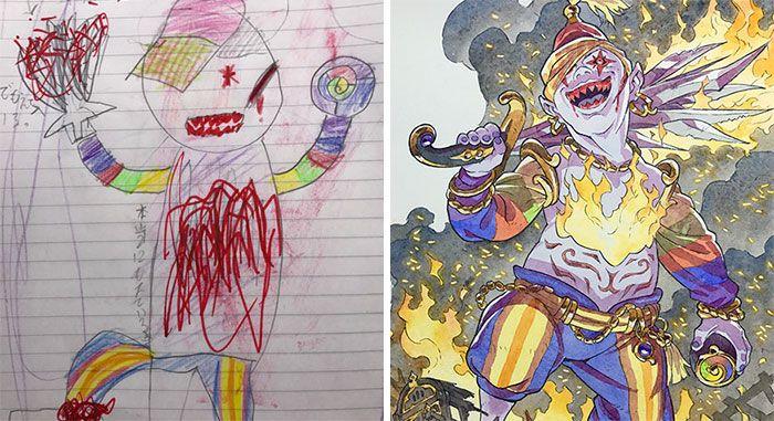 Este padre convierte los dibujos de sus hijos en increíbles personajes de anime (4ª parte)