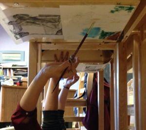 Renaissance art project: paint under your desk!!!
