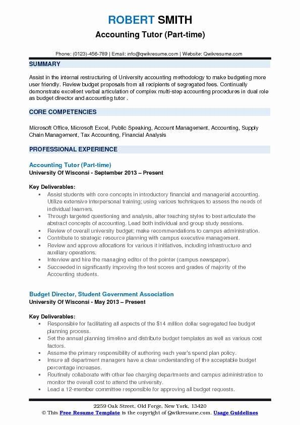 Financial Planning And Analysis Resume Unique Accounting Tutor Resume Samples