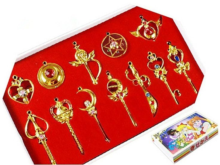 Sailor Moon Pretty Guardian 12PCS Cosplay Make Up Stick Keychain Necklace Toy B#