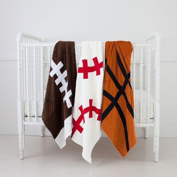 Sports Theme Baby Blanket  Available in Football, Baseball, and Basketball!  High quality made in the USA!