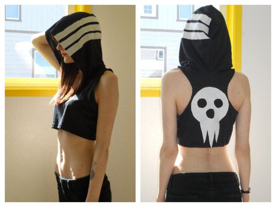 SOUL EATER  Death the kid hooded crop top by TheGr8Pretender, $30.00