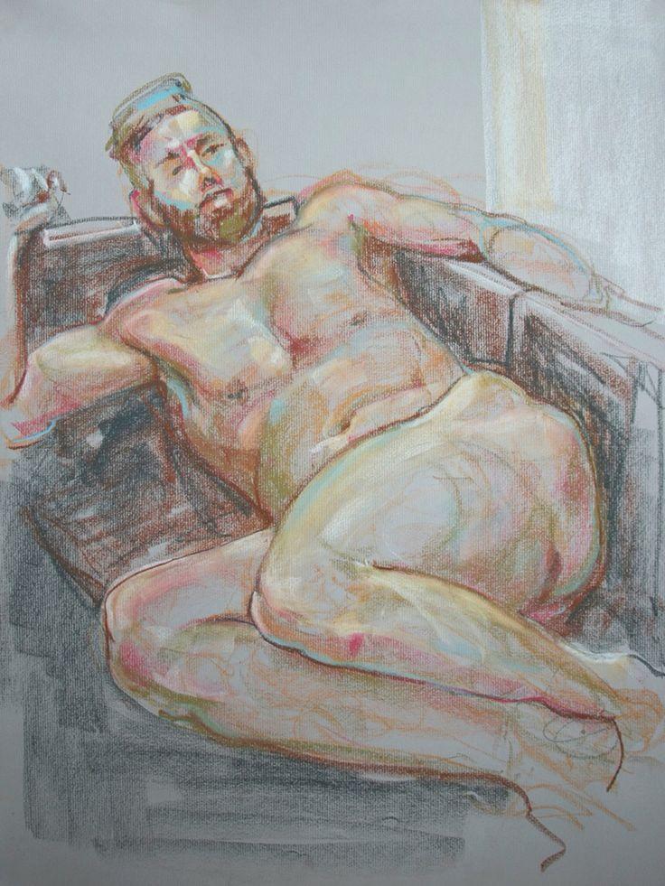 Reclining Male. Soft Pastel Kathryn Kaiser, Verity Blue Studio. 2016 #lifedrawing #sketch #nude #male #art