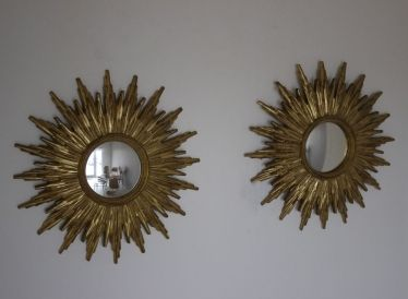 Pair of sunburst mirrors