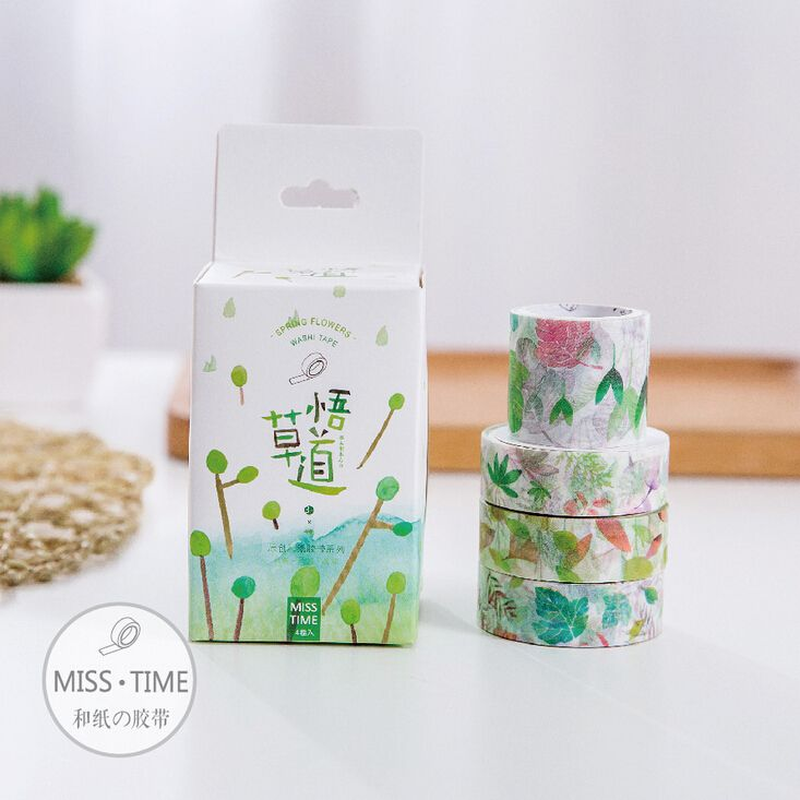 JC106  4 pcs/set Creative Vibrant Plants Decorative Washi Tape DIY Scrapbooking Masking Tape School Office Supply