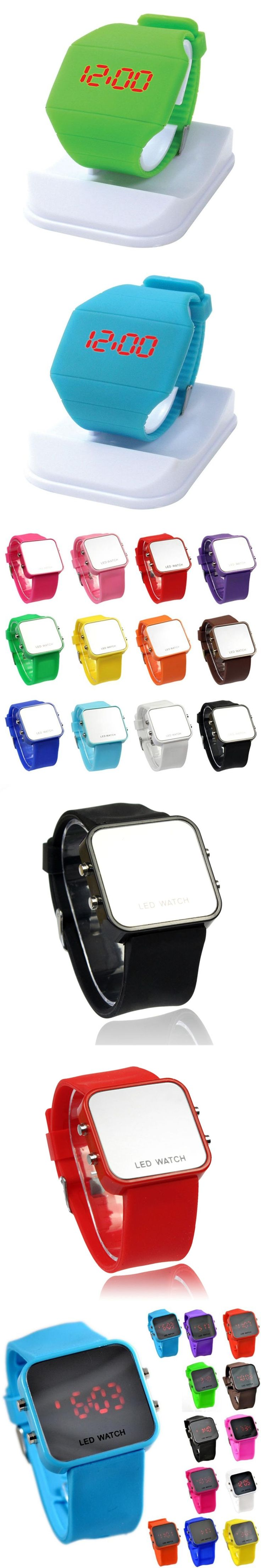 NEW 14 Colors Square Mirror Face Silicone Band Digital Watch Red LED Watches High quality Quartz Wrist Watch Sport Clock Hours