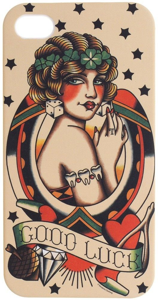 Good Luck iPhone Case Traditional Tattoo Flash Art Horseshoe Pinup Girl Diamond Rockablly http://www.inkedboutique.com