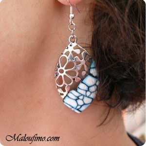 Photo tutorial for adding polymer clay to an existing metal earring.
