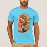Native American Young Indian Chief Men's T-shirts
