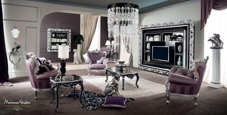 Vogue-classical-carved-hardwood-living-room-Bella-Vita-collection-Modenese-Gastone.jpg - Salotto vogue con imbottiture viola e mobili decorati con applicazioni in foglia argento