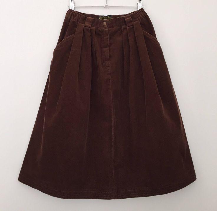 Vintage skirt / bubble skirt / corduroy skirt / 80s skirt / high waisted skirt / brown skirt / cotton skirt by LOFTOWN on Etsy
